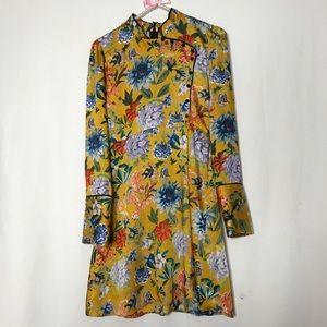NWT Zara Yellow Oriental Print Long Sleeve Dress